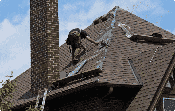 Technician on roof working